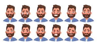 Fije del carácter masculino de diversas emociones Emoji hermoso del hombre con diversas expresiones faciales stock de ilustración