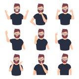 Fije del carácter masculino de diversas emociones Emoji hermoso del hombre con diversas expresiones faciales Ilustración del vect ilustración del vector