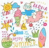 Fije del collage del garabato del verano stock de ilustración