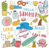 Fije del collage del garabato del verano libre illustration