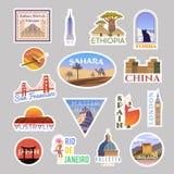 Fije del colliction de las etiquetas engomadas del vector que viaja En todo el mundo ilustración del vector