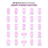 Fije del color plano elegante de 25 del SE rosado del icono funciones del teléfono de Feminish libre illustration