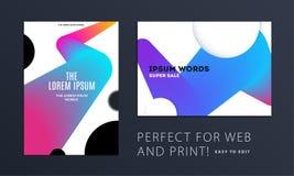 Fije del diseño de cubierta suave de la plantilla del folleto Extracto moderno colorido, informe anual con las formas para califi stock de ilustración