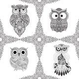 Fije del ejemplo del vector de búhos ornamentales Sistema del pájaro ilustrado en tribal Aislado en blanco Fotos de archivo