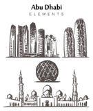 Fije del ejemplo a mano del vector del bosquejo de los elementos de los edificios de Abu Dhabi stock de ilustración