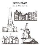 Fije del ejemplo a mano del vector del bosquejo de los elementos de los edificios de Amsterdam stock de ilustración