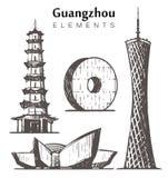Fije del ejemplo a mano del vector del bosquejo de los elementos de los edificios de Guangzhou stock de ilustración
