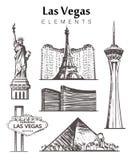 Fije del ejemplo a mano del vector del bosquejo de los elementos de los edificios de Las Vegas stock de ilustración