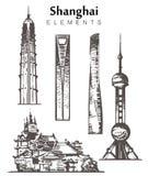 Fije del ejemplo a mano del vector del bosquejo de los elementos de los edificios de Shangai ilustración del vector