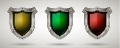 Fije del escudo de acero protector del guardia con la gafa de seguridad Estilo realista Fondo aislado libre illustration