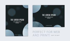 Fije del folleto con la cubierta abstracta negra del diseño, aviador del partido en A4 con la ronda lisa gris para el club, celeb libre illustration