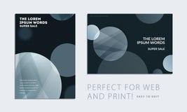 Fije del folleto con la cubierta abstracta negra del diseño, aviador del partido en A4 con la ronda lisa gris para el club, celeb ilustración del vector