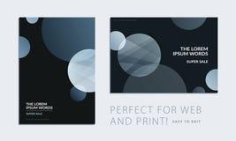 Fije del folleto con la cubierta abstracta negra del diseño, aviador del partido en A4 con la ronda lisa gris para el club, celeb stock de ilustración