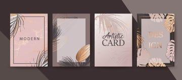Fije del folleto elegante elegante, cubiertas, tarjetas con las hojas de palma exóticas, subió textura del oro La boda, ahorra  stock de ilustración