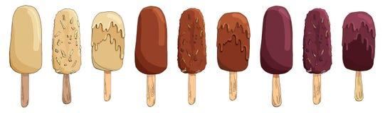 Fije del helado exhausto de chocolate de la mano del vector Empanada esquimal aislada en el fondo blanco Polo de hielo Torta del  stock de ilustración