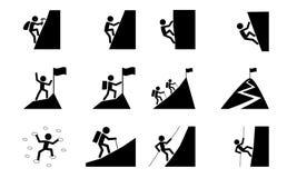 Fije del icono que camina y que sube, arte del vector stock de ilustración