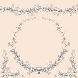Fije del ornamento horizontal inconsútil, guirnalda a cielo abierto del vintage en las decoraciones de la esquina Isolat hecho a  stock de ilustración