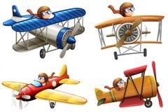 Fije del piloto que monta el avión clásico ilustración del vector