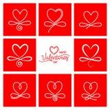 Fije del vector día de San Valentín Calligraphi dibujado mano de nueve vintages stock de ilustración