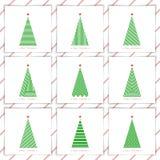 Fije el árbol de navidad en la línea art03 Fotos de archivo
