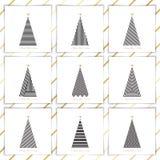 Fije el árbol de navidad en la línea arte Fotos de archivo libres de regalías
