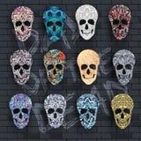 Fije el cráneo para el concepto de los ejemplos el día de los muertos Diseño decorativo abstracto colorido del ornamento de la pl stock de ilustración
