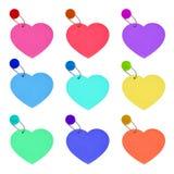 Fije el día de tarjetas del día de San Valentín colorido de los corazones de la etiqueta en el fondo blanco Imagen de archivo