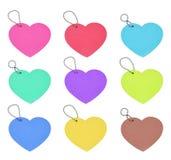 Fije el día de tarjetas del día de San Valentín colorido de los corazones de la etiqueta en el fondo blanco Imagen de archivo libre de regalías