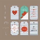 Fije el día de tarjetas del día de San Valentín de papel de la etiqueta engomada de la insignia Imágenes de archivo libres de regalías