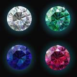 Fije el diamante de rubíes de la esmeralda del zafiro Vector Imágenes de archivo libres de regalías