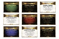 Fije el diploma, certificado de aprecio, logro horizonta Foto de archivo