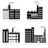 Fije el edificio de la fábrica de la silueta con las oficinas libre illustration