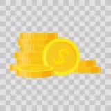 Fije el ejemplo del vector de la pila de las monedas, montón plano de las finanzas del icono, pila de la moneda del dólar Dinero  Imagen de archivo libre de regalías