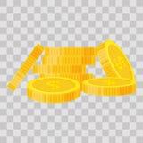 Fije el ejemplo del vector de la pila de las monedas, montón plano de las finanzas del icono, pila de la moneda del dólar Dinero  Foto de archivo libre de regalías