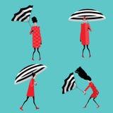 Fije el ejemplo del vector de muchachas con el paraguas Foto de archivo