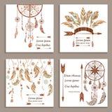 Fije el estilo étnico de las tarjetas de felicitación Soñe el colector stock de ilustración