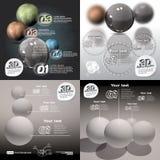 Fije el extracto del infographics 3d con las bolas brillantes libre illustration