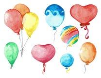 Fije el grupo de globos en una secuencia Dé exhausto, aislado en un fondo blanco watercolor Imagenes de archivo