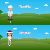 Fije el hombre del ejemplo y al golfista de la mujer Foto de archivo libre de regalías