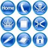 Fije el icono #07 azul. Imagen de archivo