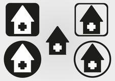 Fije el icono de la casa con una cruz Círculo, cuadrado con las esquinas redondeadas Imagenes de archivo