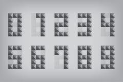 Fije el icono del alfabeto del zero-nine del número 0-9 y el triang geométricos de la muestra Foto de archivo
