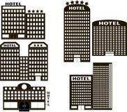 Fije el icono del hotel se hace en un estilo plano Fotos de archivo