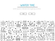 Fije el icono del invierno Imagenes de archivo