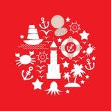 Fije el icono del mar en fondo rojo Vector Imágenes de archivo libres de regalías