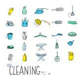 Fije el icono del servicio de la limpieza Fotos de archivo libres de regalías