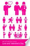Fije el icono para el día de tarjeta del día de San Valentín Foto de archivo libre de regalías