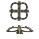 Fije el intercambio del transporte Carretera con las marcas amarillas Visión superior y en perspectiva Ilustración Imagen de archivo