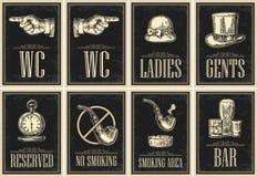Fije el letrero Señalar el dedo Cartel del grunge del retrete para las señoras, centavos libre illustration