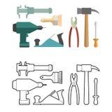 Fije el libro de colorear de las herramientas de la carpintería Destornillador y taladro Fotografía de archivo
